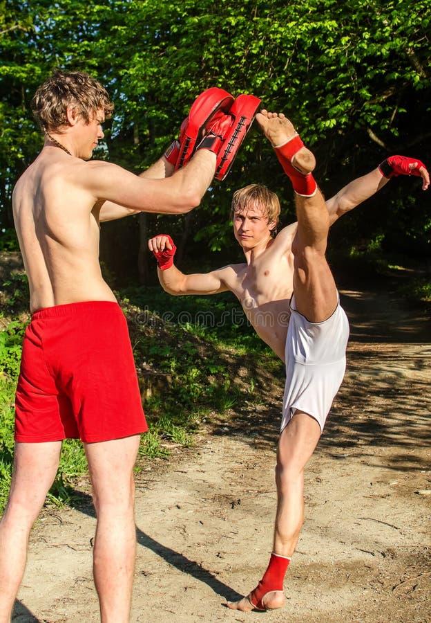 Two man training Muay thai royalty free stock photos