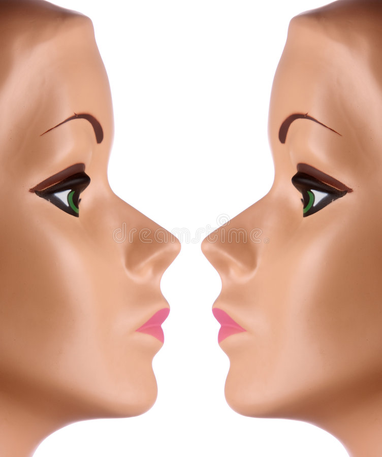 Two mannequin faces royalty free stock photo