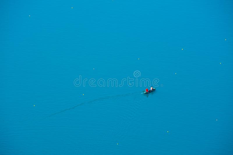 Two mans kayaking on the lake Bled. In Slovenia stock image
