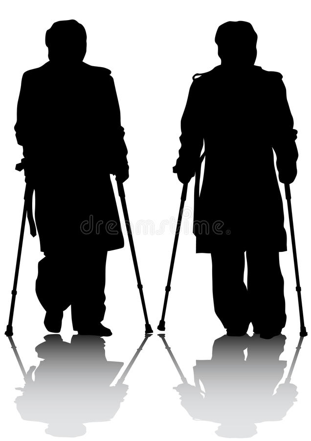 Download Two mans whit crutches stock vector. Illustration of vector - 24630666