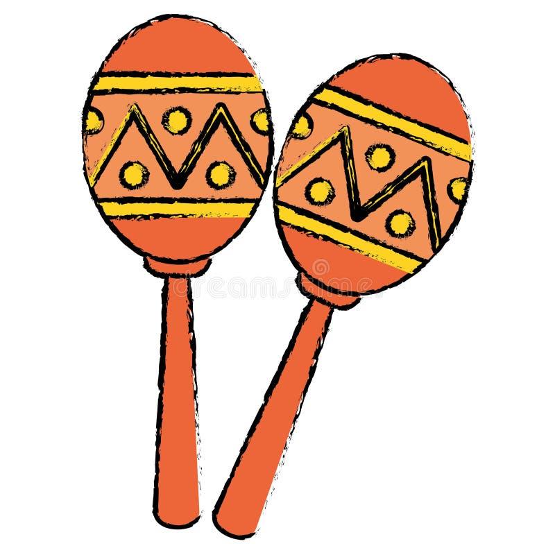 Two maracas music instrument brasilian sketch stock illustration