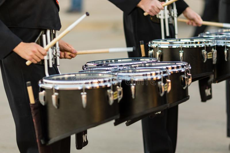 Two marching band snare players warming up. Pregame royalty free stock photo