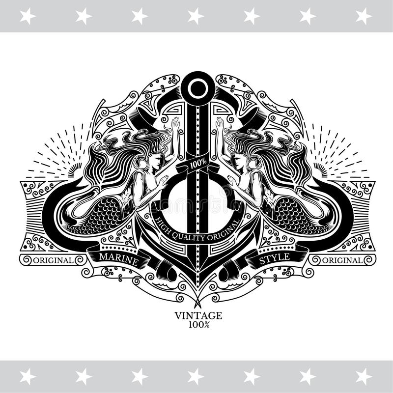 Two marmaids hold the anchor with ribbons and line pattern. Marine style background on white vector illustration