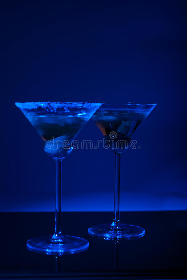 Free Two Martini Glasses With Blue Light Stock Photo - 22005260