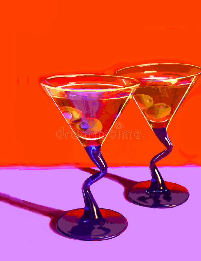 Two Martinis on Red vector illustration