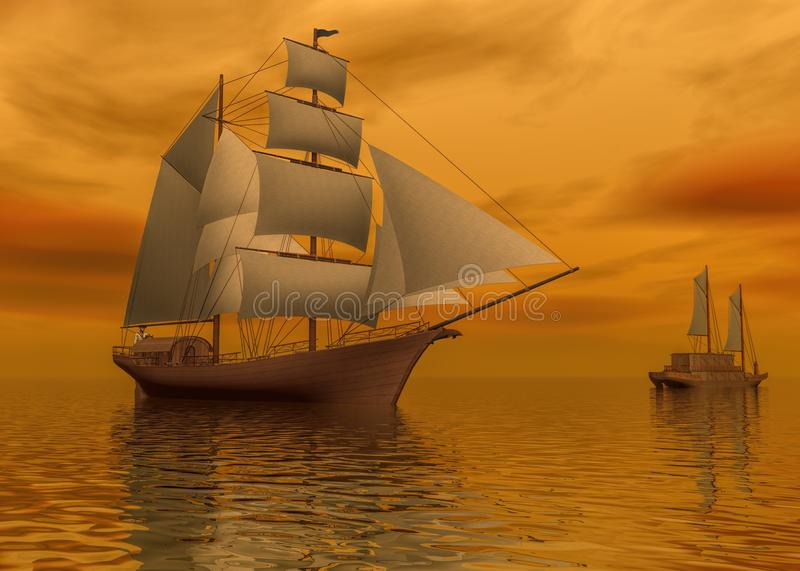 Two mast schooners sails on calm sea during sunset, 3d rendering stock illustration