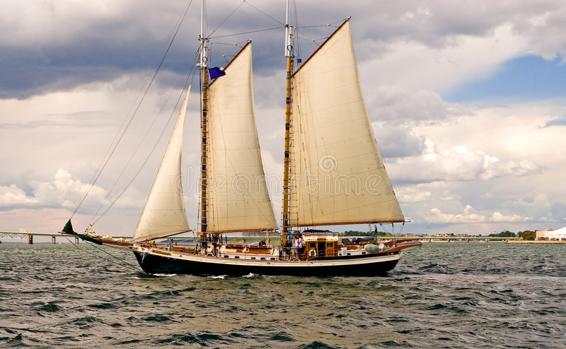 Two-masted sailboat stock image