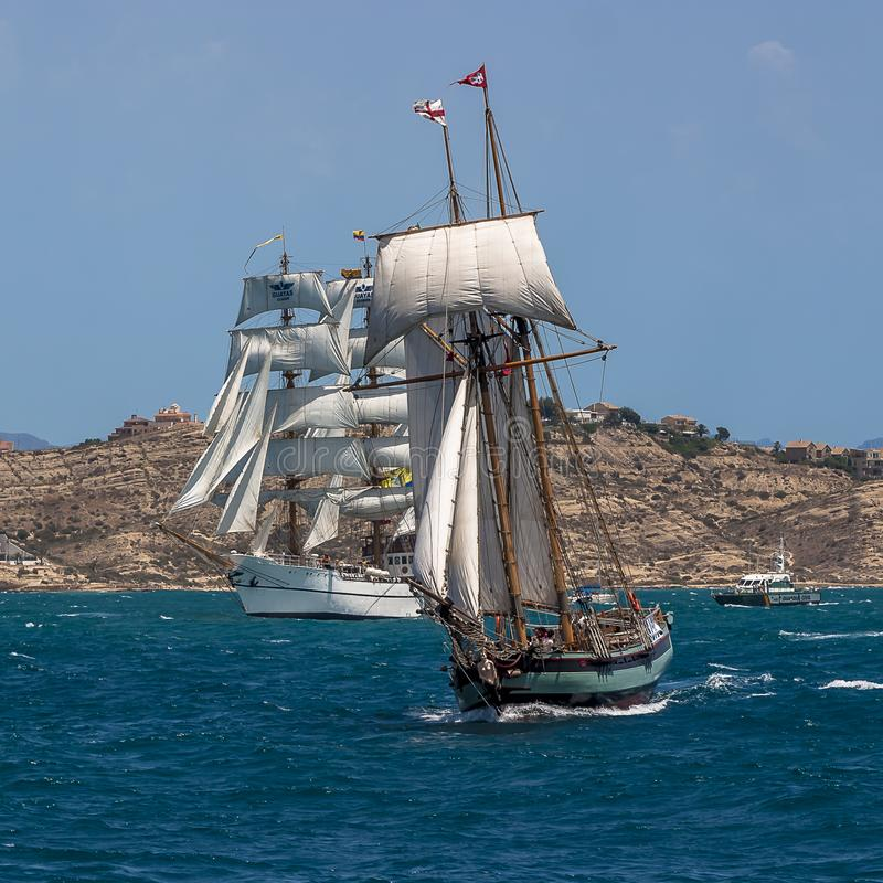 Two masted Schooner Tall Ship Full Sail stock images