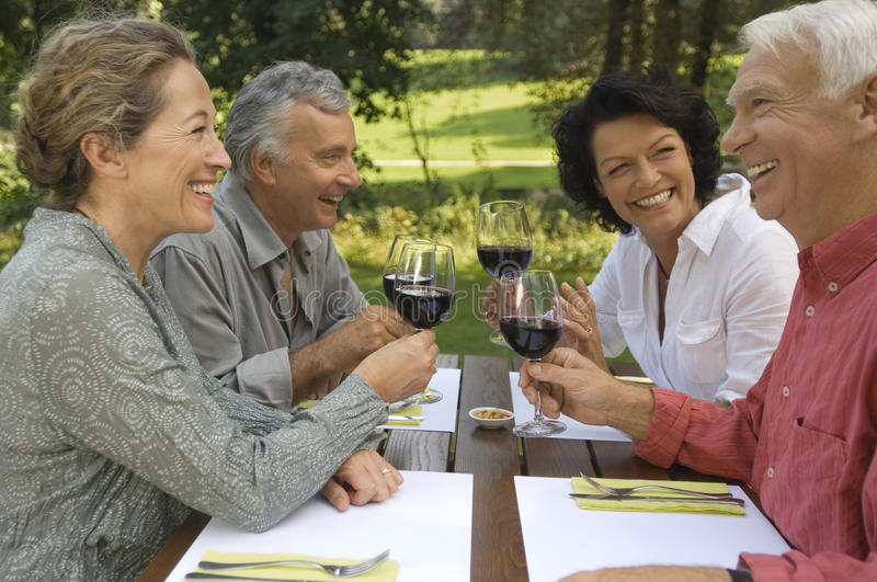 Two mature couples drinking wine royalty free stock image