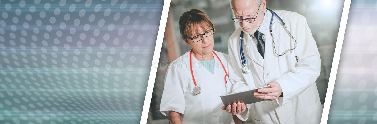 Two doctors discussing about medical report on tablet; panoramic banner stock photos