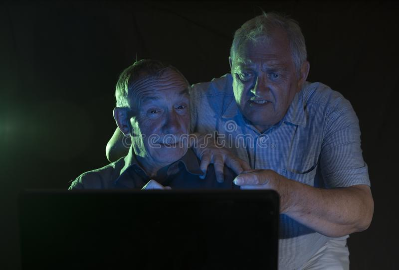 Two mature men looking at a computer screen royalty free stock photo