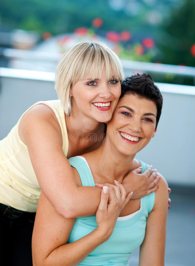 Two mature woman friends stock photo