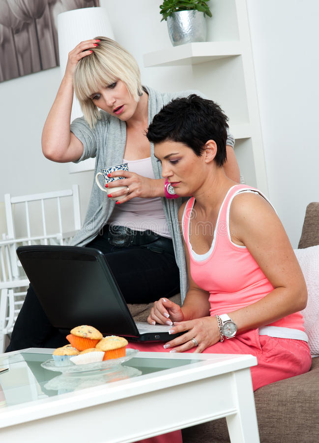 Download Two Mature Woman Friends With Laptop At Home Royalty Free Stock Photography - Image: 19890227