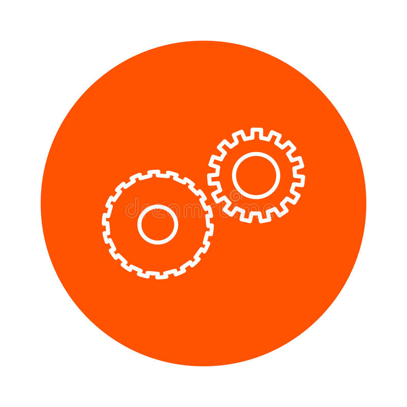 Two mechanical gears symbolizing mechanics, a circular linear icon, simple color change, a flat style vector illustration