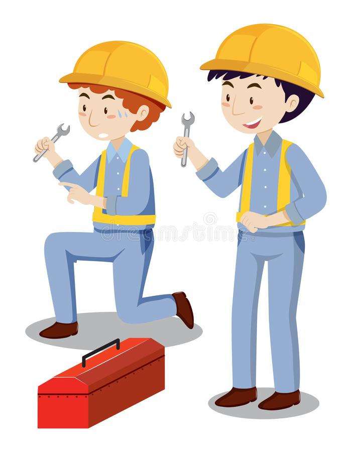 Two mechanics with toolbox. Illustration vector illustration
