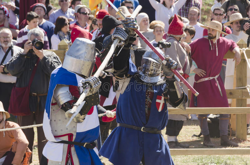 Two medieval fighters stock photo