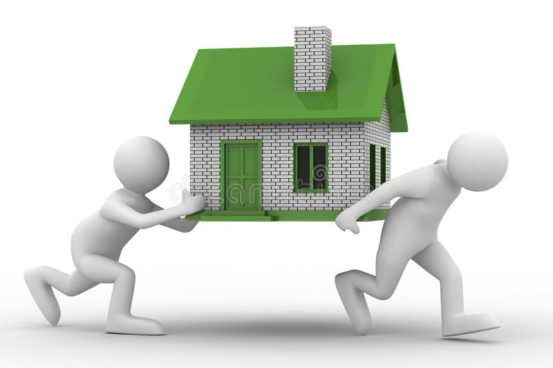 Download Two men carry house stock illustration. Illustration of difficult - 12355511