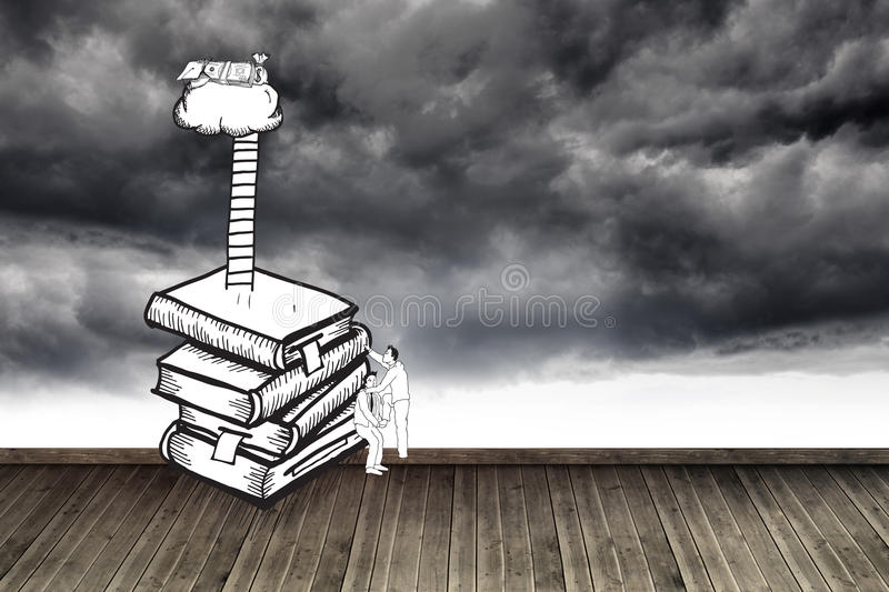 Two men climbing books over stormy sky vector illustration