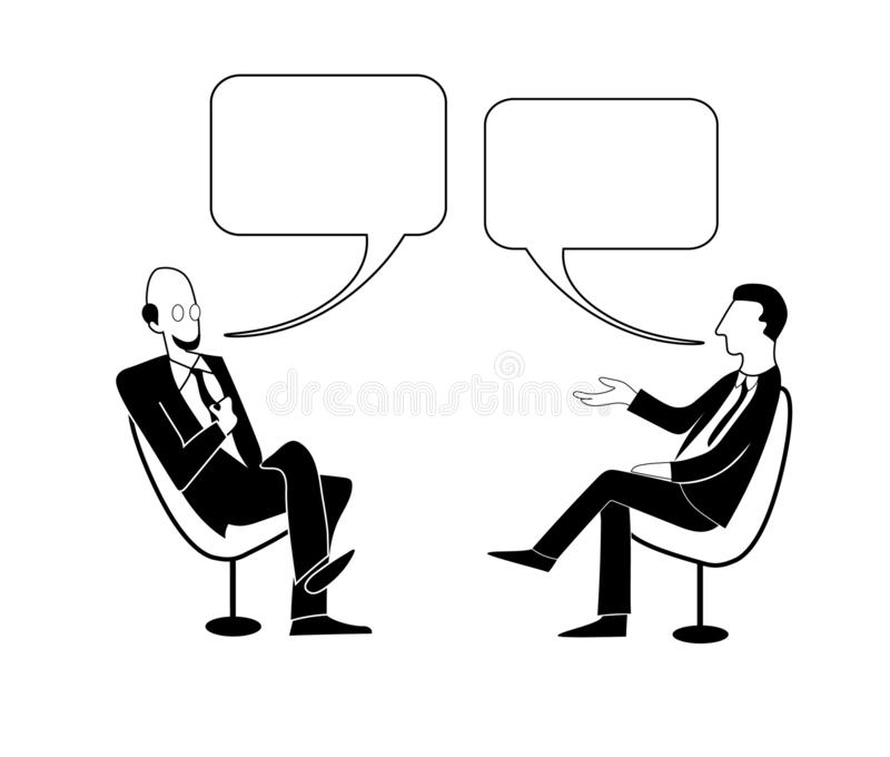 Two men dialog. Vector outline image. Talk shows, interview or discussion. Two men in jackets and ties sit in chairs facing each other and talking with bubbles royalty free illustration