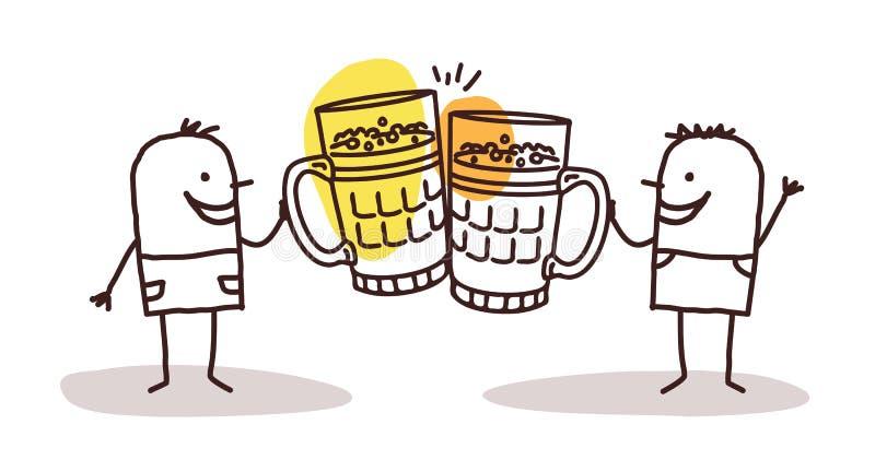 Two men drinking beer royalty free illustration