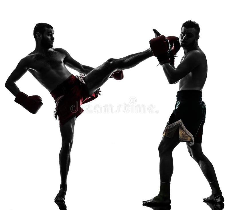 Download Two Men Exercising Thai Boxing Silhouette Stock Photo - Image of kicking, exercising: 31365934