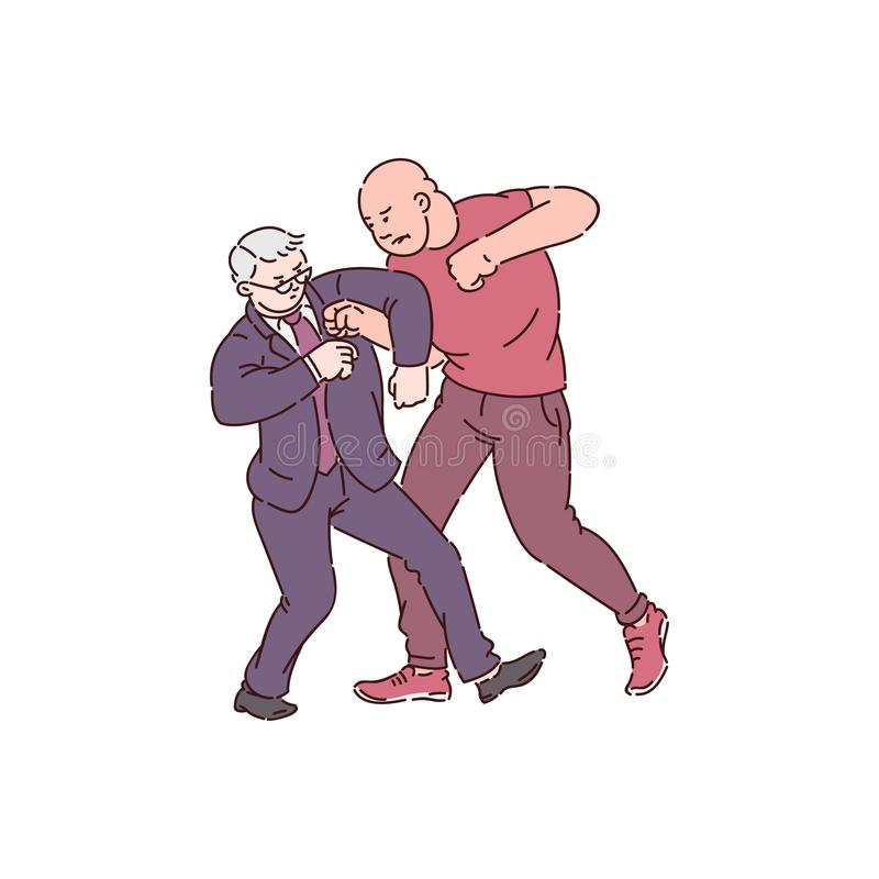 Two men in fight action, strong angry man attack on old businessman. Physical conflict between customer and worker. Hand drawn cartoon style isolated vector royalty free illustration
