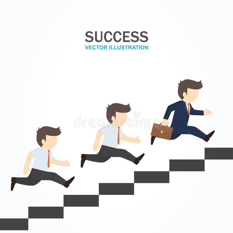 Two men follow their leader who running up to the stair. Two men follow their leader business man who running up to the stair stock illustration