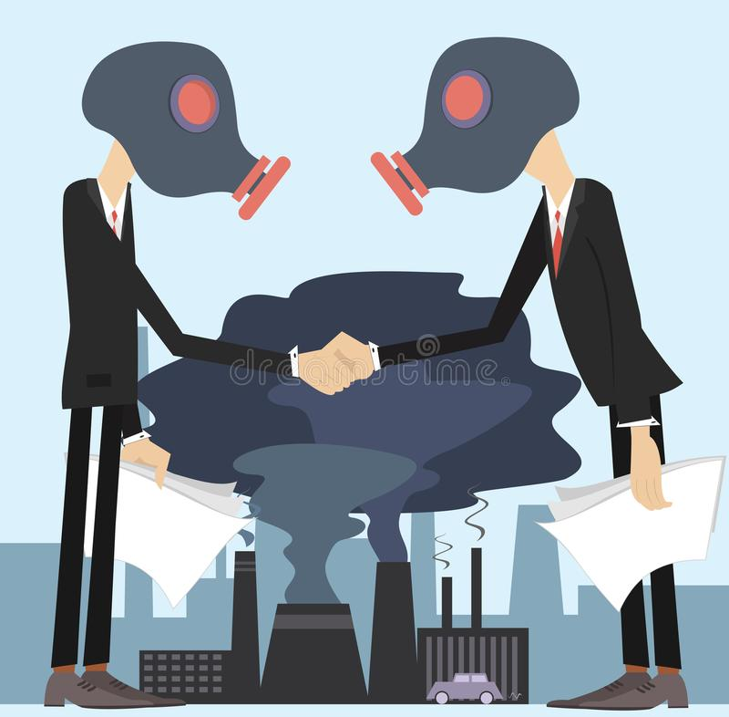 Two men in the gas mask conclude an agreement and shake hands concept illustration. Two men in the gas mask conclude an agreement and shake hands on the polluted vector illustration