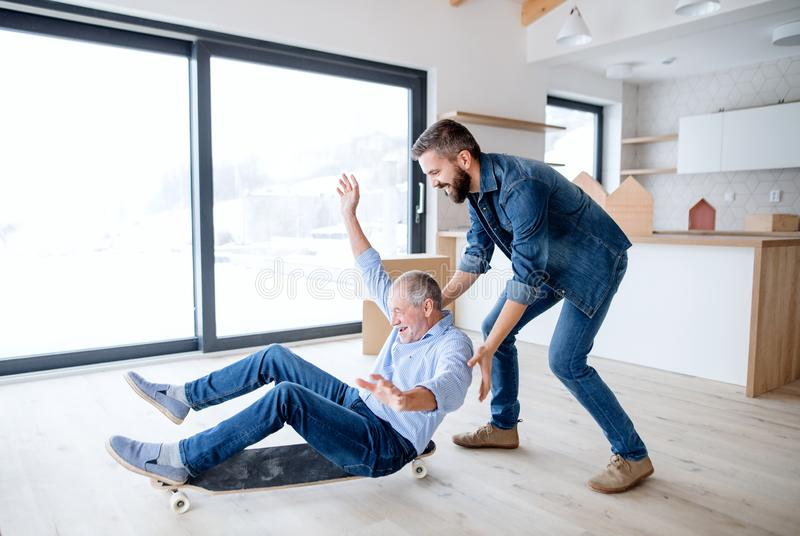 Two men having fun when furnishing new house, a new home concept. Two cheerful men having fun when furnishing new house, a new home concept royalty free stock photos