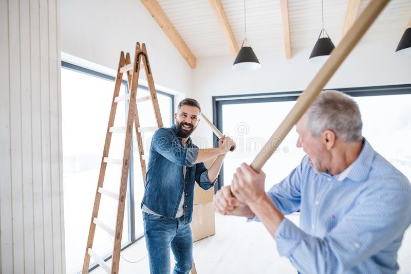 Two men having fun when furnishing new house, a new home concept. royalty free stock image