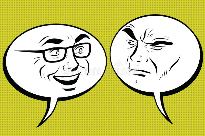 Two men joyful and angry. Comic bubble smiley face. Pop art retro vector illustration. Human emotions royalty free illustration
