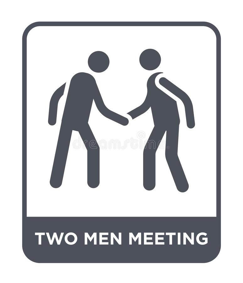 two men meeting icon in trendy design style. two men meeting icon isolated on white background. two men meeting vector icon simple vector illustration