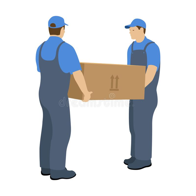Two Men in the Moving Service carry a large box. Vector illustration on a white background royalty free illustration