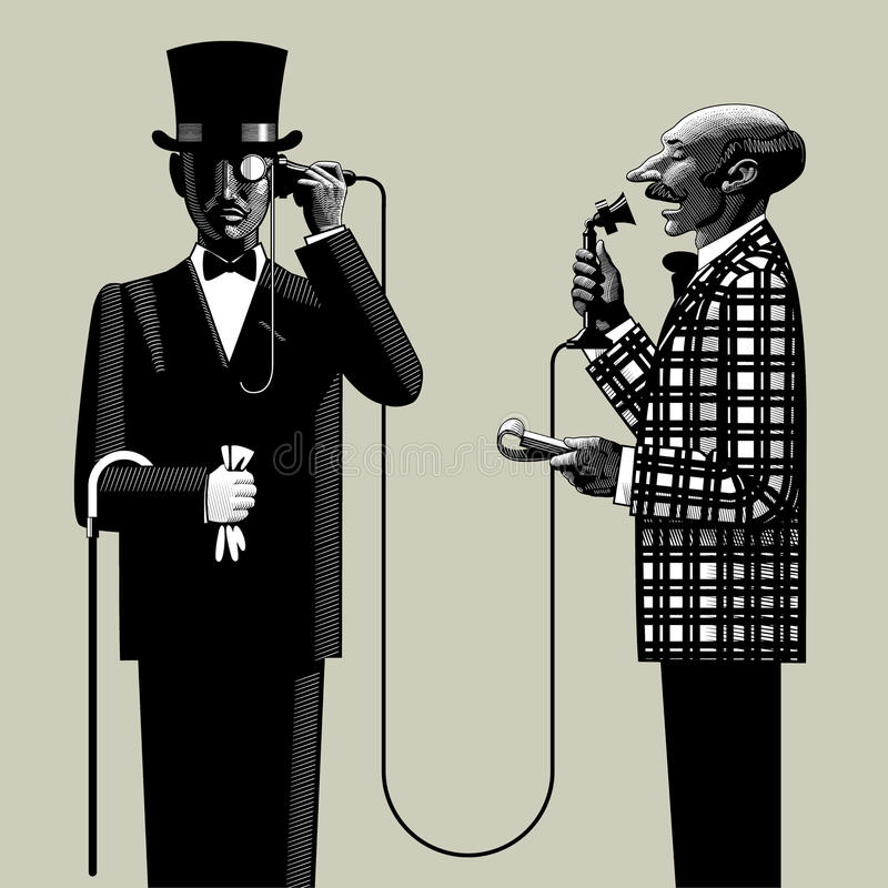 Two men with a phone. Isolated raster version of vector image in the style of vintage engraving of two men of business in retro suits connected with the retro vector illustration