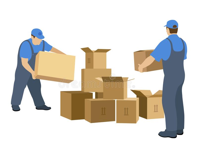 Two men in the relocation service make up the boxes. Vector illustration isolated on white background royalty free illustration