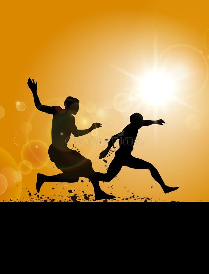 Two men running on the field. Two men running on the muddy field vector illustration