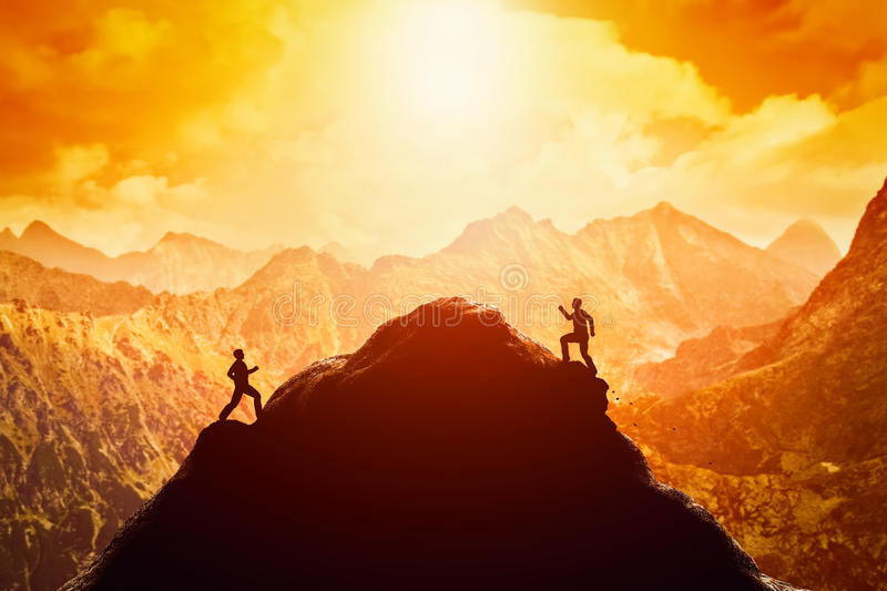 Two men running race to the top of the mountain. Competition, rivals, challenge royalty free illustration