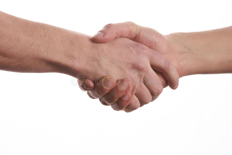 Two men shaking hands over isolated white royalty free stock photography