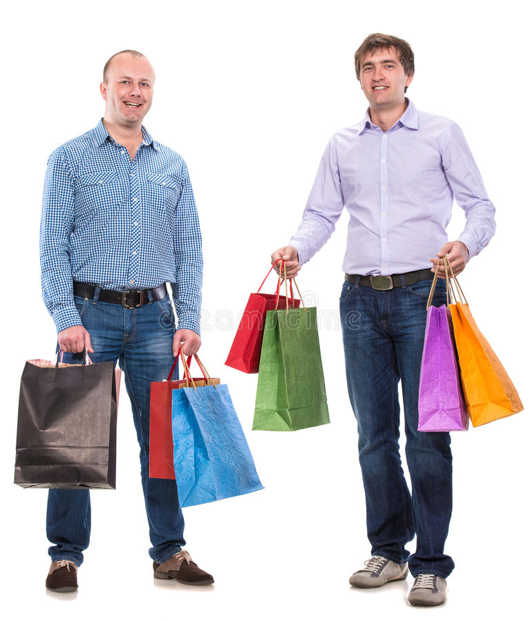 Download Two men with shopping bags stock photo. Image of discount - 35319460