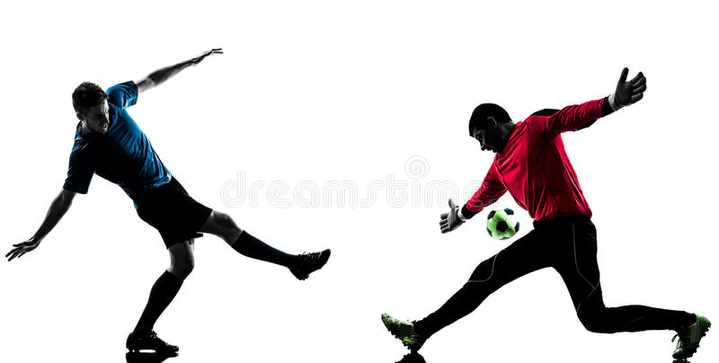 Two men soccer player goalkeeper competition silhouette. Two caucasian soccer player goalkeeper men face to face competition in silhouette isolated white royalty free stock photography