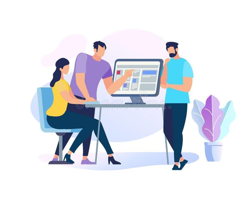 Two Men Stand at PC Explain Information to Girl. Two Handsome Men Stand at Table with Computer Explain Information to Sitting Girl. Teamwork. Young People Work royalty free illustration
