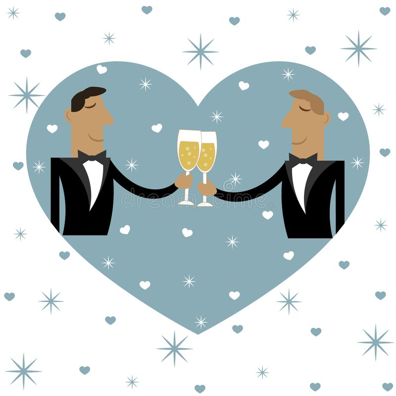 Two guys are drinking together. Vector illustration. vector illustration