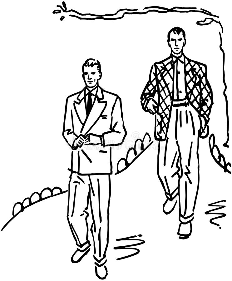 Two Men In Suits stock illustration