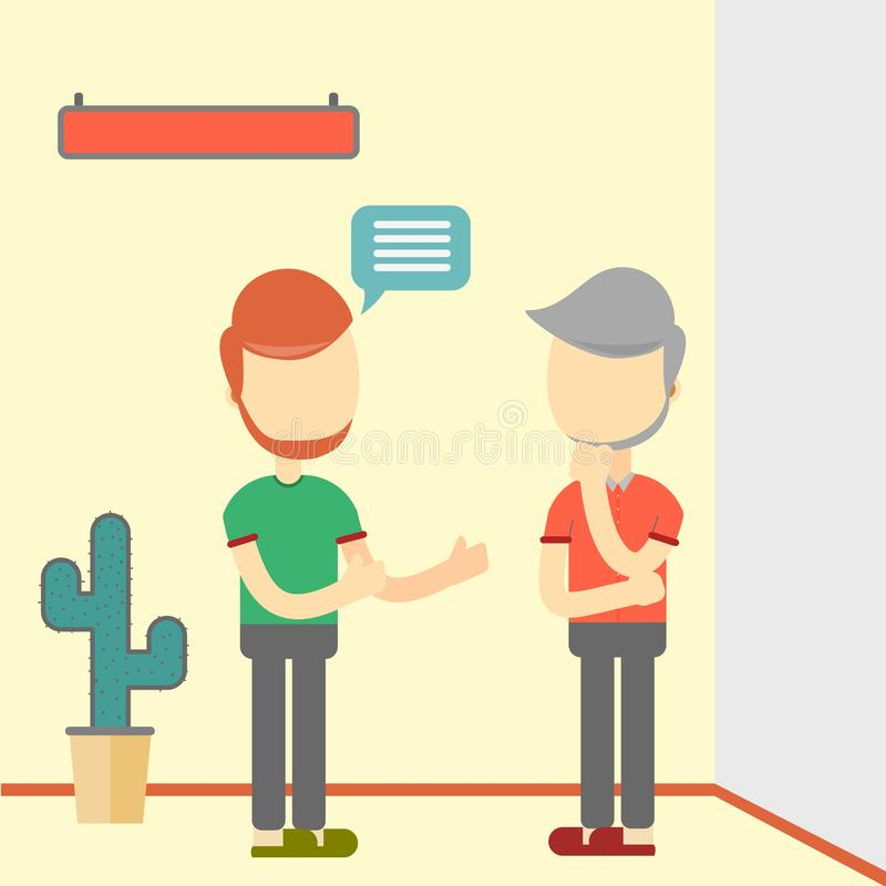 Two men talking about business. flat design stock illustration