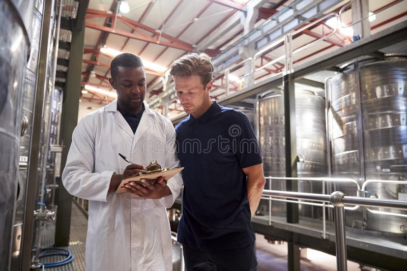 Two men working at a wine factory making notes, close up royalty free stock photo