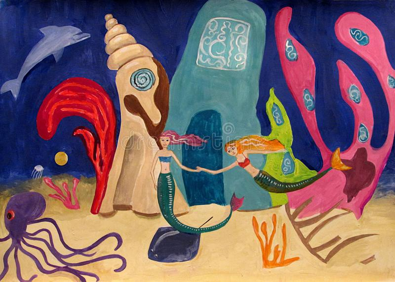 Two mermaids swim in front of their house underwater in the sea next to an octopus royalty free stock photography