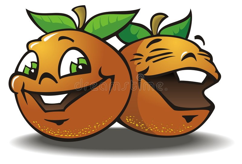 Two merry Oranges. Laughing, cartoon picture, vector illustration stock illustration