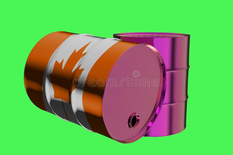 Two Metal Industrial Oil Barrels with Canada flag 3D rendering stock illustration