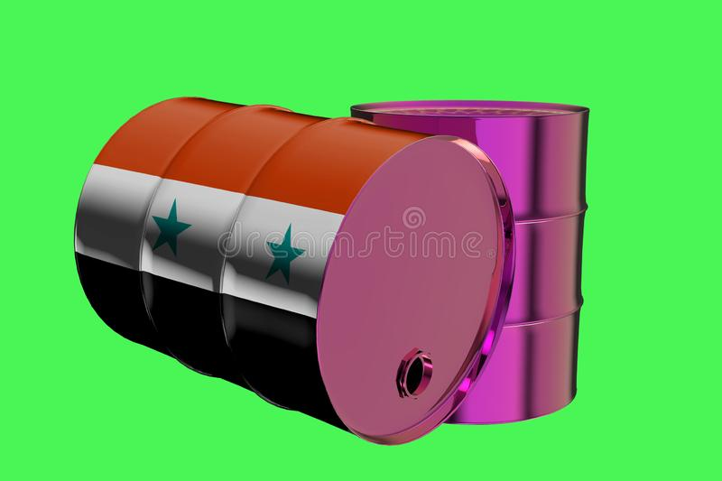 Two Metal Industrial Oil Barrels with Flag of Syria vector illustration