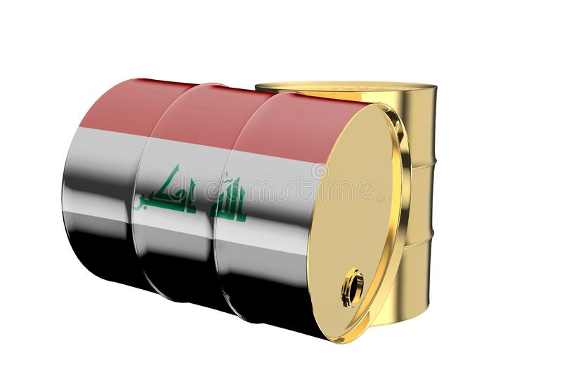 Two Metal Industrial Oil Barrels with Iraq Flag 3D rendering royalty free illustration